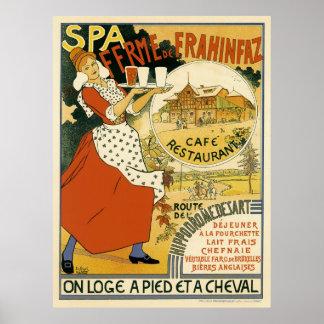 Poster Art vintage Nouveau, café de barre de bière et