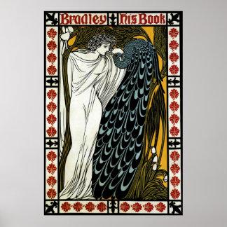 Poster Art vintage Nouveau ce baiser, femme avec le paon