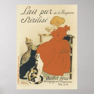Poster Art vintage Nouveau, jeune fille donnant à chats