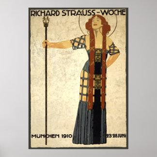 Poster Art vintage Nouveau Richard Strauss-Woche. Munich