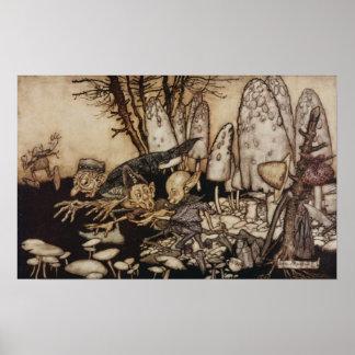 Poster Arthur Rackham | Peter Pan dans des jardins de