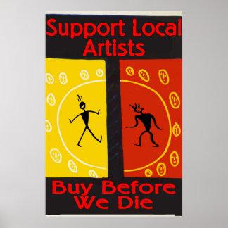 Poster Artistes locaux de soutien, achat avant que nous