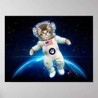 Poster Astronaute de chat - chat de l'espace - amoureux