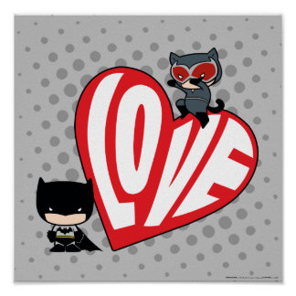 Poster Attaque de Catwoman de Chibi sur Batman