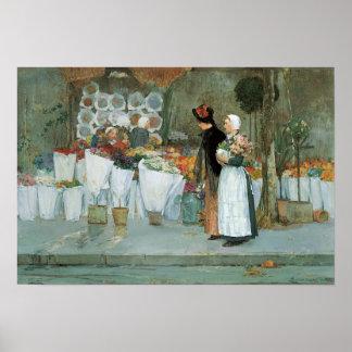 Poster Au fleuriste par Childe Hassam, beaux-arts