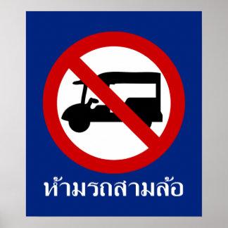 Poster AUCUN ⚠ thaïlandais de panneau routier de ⚠ de