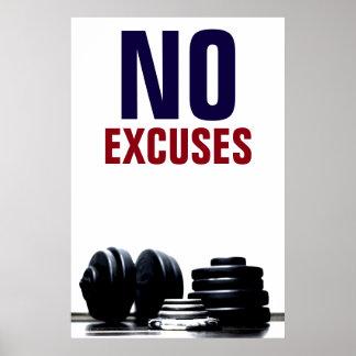 Poster Aucune forme physique Bodybuilding d'excuses