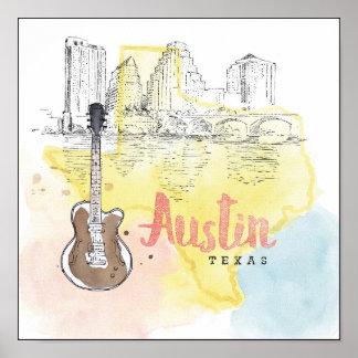 Poster Austin, croquis d'aquarelle du Texas  