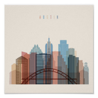 Poster Austin, horizon de ville du Texas |