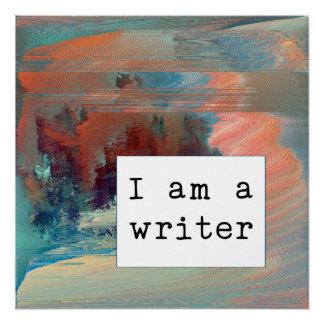 Poster Auteur abstrait de corail, de bleu et de rouille