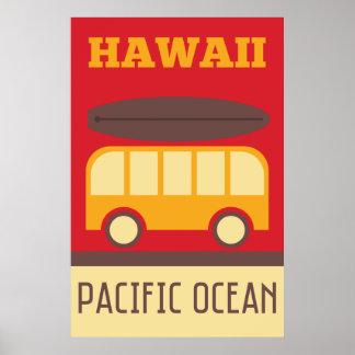 Poster Autobus surfant hawaïen