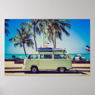 Poster Autobus vintage de campeur de plage de paradis de