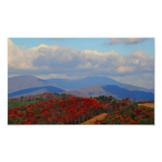 Poster Automne dans le Ridge bleu, la Caroline du Nord