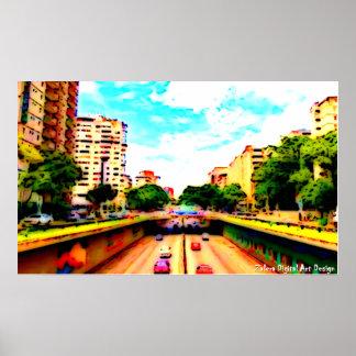 Poster Avenue Libertador - Caracas by Zalera.