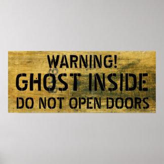 Poster Avertissement de signe souillé par fantôme de