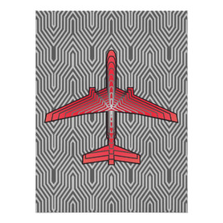 Poster Avion d'art déco, gris orange et argenté de corail
