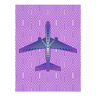 Poster Avion d'art déco, gris pourpre et argenté violet