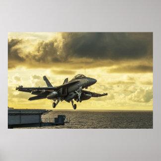 Poster Avion de chasse de vibreur d'Ea18g lançant outre