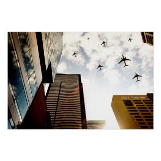 Poster Avions volant au-dessus des bâtiments