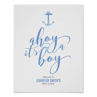 Poster Baby shower bleu Welcom d'ancre nautique
