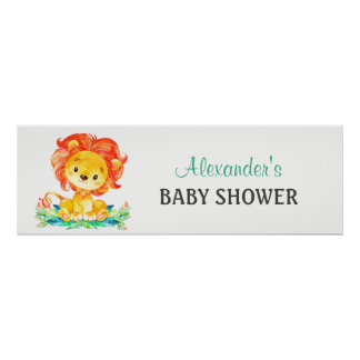 Poster Baby shower de lion d'aquarelle