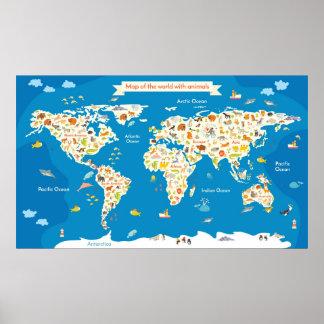 Poster Badine la carte du monde avec des animaux