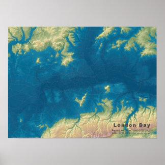 Poster Baie de Londres, hausse de mer de 66m