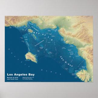 Poster Baie de Los Angeles--Carte de hausse de mer