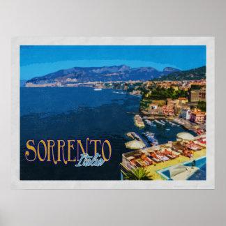 Poster Baie de Sorrente Italie de voyage vintage de