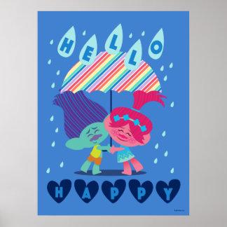 Poster Baisses heureuses de pluie des trolls |