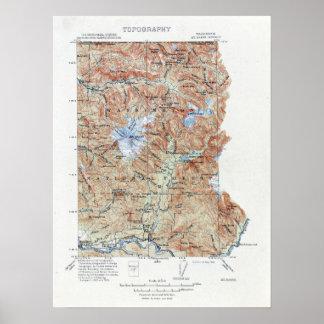Poster Baker vintage de bâti de carte topographique