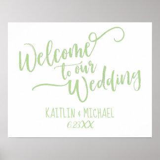 Poster Balayez la calligraphie épousant le signe bienvenu