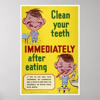 Poster Balayez vos enfants dentaires de santé de dents