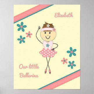 Poster Ballerine nommée personnalisée par rose de petite
