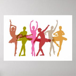 Poster Ballerines colorées de danse