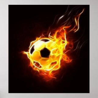 Poster Ballon de football en flammes