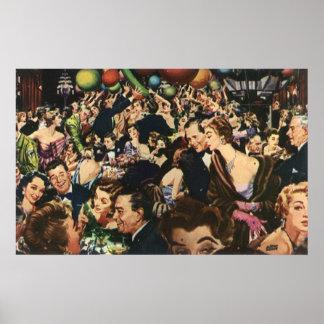 Poster Ballons vintages de fête d'anniversaire, thème de