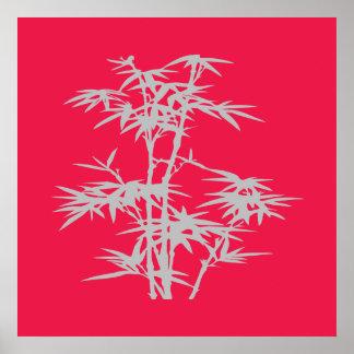 Poster Bambou asiatique rose de style japonais de zen