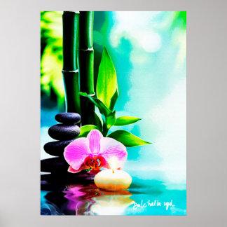 Poster Bambou et orchidée