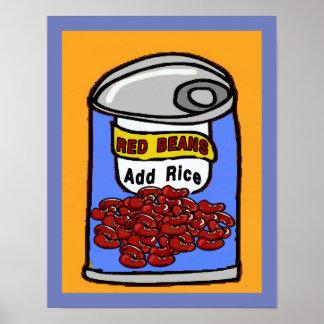 Poster Bande dessinée d'haricots rouges