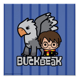 Poster Bande dessinée Harry Potter et Buckbeak