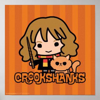 Poster Bande dessinée Hermione et Crookshanks