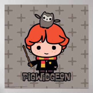 Poster Bande dessinée Ron Weasley et Pigwidgeon