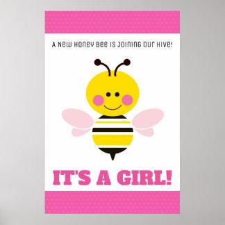 Poster Bande dessinée rose d'abeille - le genre indiquent