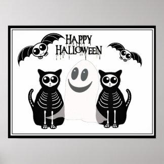 Poster Bande squelettique d'animaux de Halloween