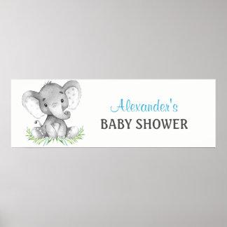 Poster Bannière de baby shower de garçon d'éléphant