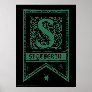 Poster Bannière de monogramme de Harry Potter | Slytherin