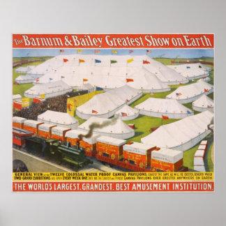 Poster Barnum et tentes de cirque de Bailey avec
