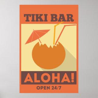 Poster Barre de Tiki de Hawaïen Aloha