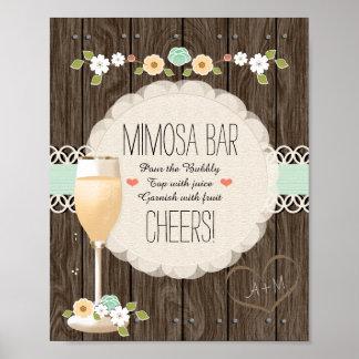 Poster Barre nuptiale de mimosa de douche de mariage
